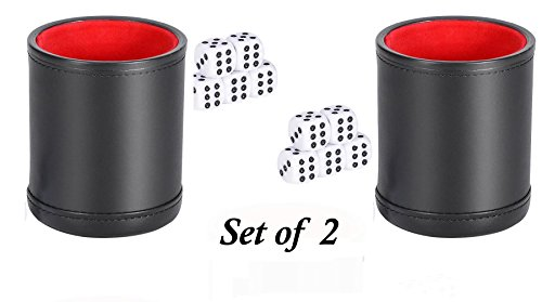 Set of 2 NEW! Professional Deluxe Dice Cups, Faux Leather, includes 5 Dice in each Cup