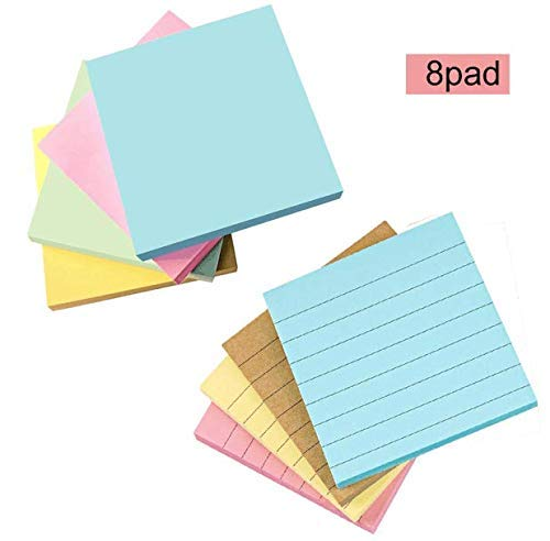 Dream Loom Self-Stick Notes,Sticky Notes, Colorful Bookmark, 3 in x 3 in, 100 Sheets per pad, 8Pads/Pack