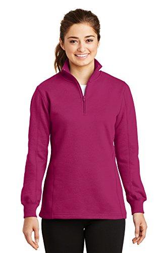 Sport-Tek Women's 1/4 Zip Sweatshirt M Pink Rush