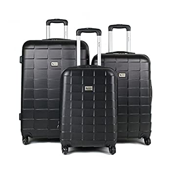 Image of AMKA Palette Hardside 3-Piece Expandable Spinner Upright Luggage Set-Black Luggage