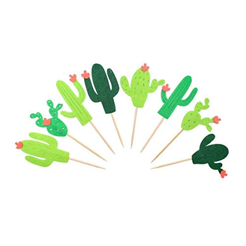 Indipartex Greenery Wedding Cake Topper Set of Cactus Cupcake Toppers is The Perfect Cake Decoration Choice for Hawaiian Luau Party, Kids Dinosaur Themed Including 4 Types, 2 Pack of 24 ()