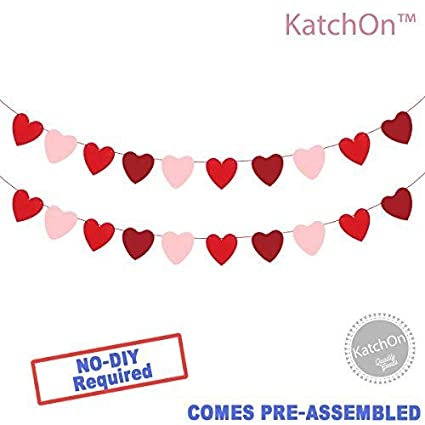 Amazon Com Katchon Felt Heart Garland Banner No Diy Valentines