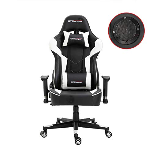 GTRanger Gaming Chair with Speakers Video Game Chair Racing Style Ergonomic Office Chair Adjustable Computer Desk Chair – White & Black