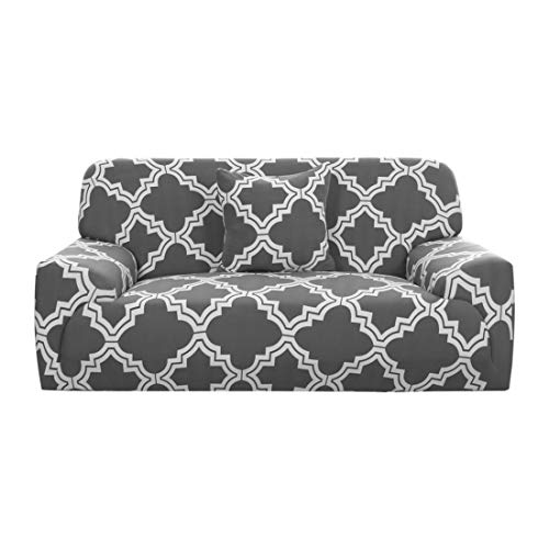 One Cushion - uxcell Stretch Sofa Cover Couch Cover 3 Seater Polyester Spandex Fabric 1-Piece Sofa Slipcover for Chair Loveseat Sofa Elastic Furniture Protector with One Free Cushion Case #L 76-90 Inch