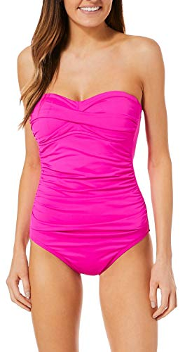 (Anne Cole Women's Twist Front Shirred One Piece Swimsuit, New Pink, 16)
