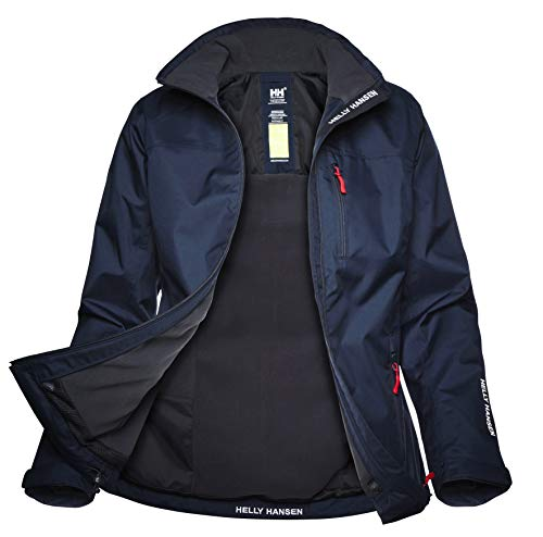 Helly Hansen Women's Crew Midlayer Fleece Lined Waterproof Windproof Breathable Rain Coat Jacket, 597 Navy, Medium from Helly Hansen