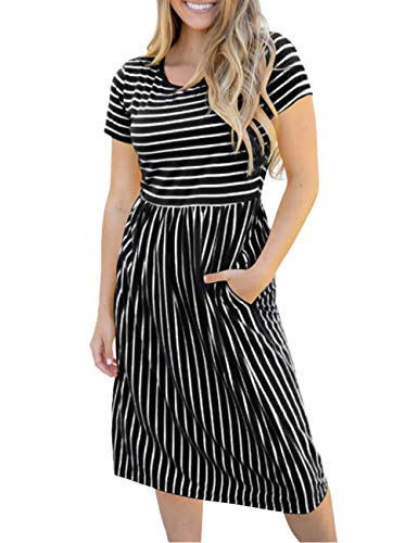 MEROKEETY Women's Summer Striped Short Sleeves High Waist Casual T Shirt Midi Dress