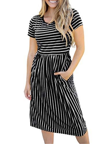 4161c01770e490 MEROKEETY Women's Summer Striped Short Sleeves High Waist Casual T Shirt  Midi Dress