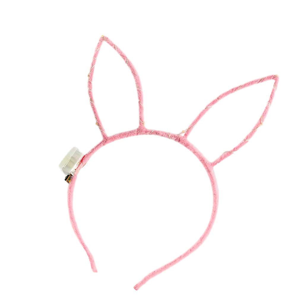 LED Light Up Bunny Hairbands Cat Ears Headband, Crown Hairband Hair Hoop Headwear Hair Accessories for Party and Daily Decoration (Pink)