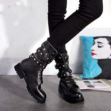 Heart&M Damen Schuhe Nappaleder Herbst Winter Modische Stiefel Stiefel Mittelhohe Stiefel Für Normal Party & Festivität Schwarz black