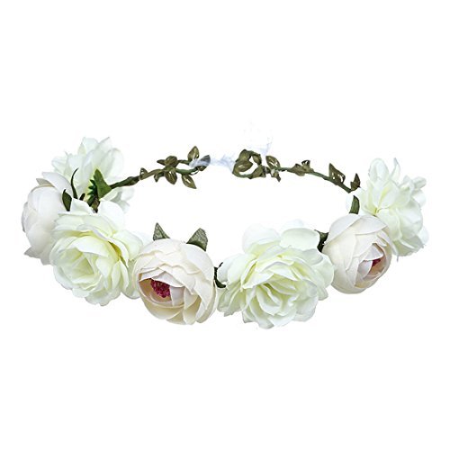 June Bloomy Women Rose Floral Crown Hair Wreath Leave Flower Headband with Adjustable Ribbon (White)
