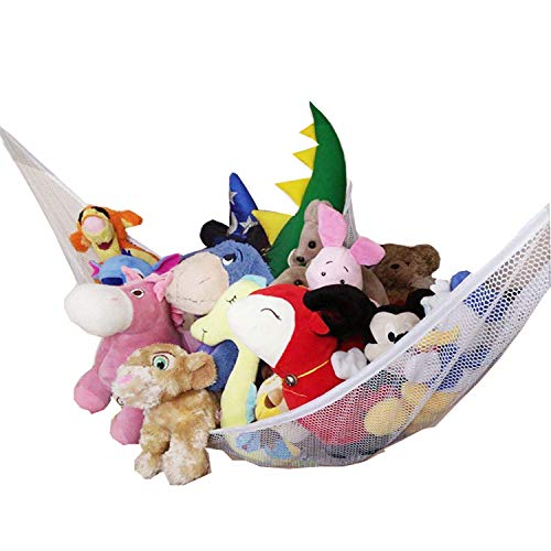 Jumbo Stuffed Animal Storage Hammock - Wall Toy Storage Net 7 Feet for Organizing Kids Rooms Tidy - Stuffies Corner Hammock Net for Hanging Toys Animals Teddy Bear, Portable and Clutter-Free