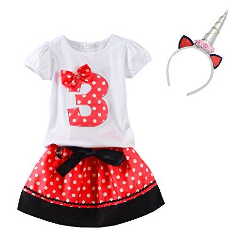 Mud Kingdom Toddler Girls Birthday Outfits I Am 3 Year Red Unicorn 3T]()