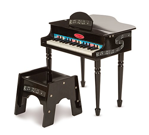Image of the Melissa & Doug Learn-To-Play Classic Grand Piano With 30 Keys, Color-Coded Songbook, and Non-Tip Bench