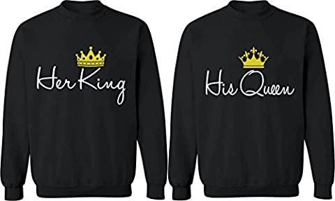 Her King & His Queen - Matching Couple Sweatshirts - His and Her Sweaters (Hers And His Crewneck)