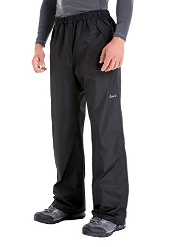 - Clothin Men's Waterproof Rain Pants Elastic-Waist Drawstring with Front Zipper Pockets Basic Ski Snow Pant-Insulated(Black,2XL)