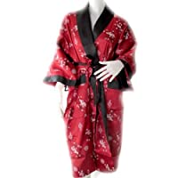 (japaness Kimono Bath Robe) Beautiful Flower Robe Can Be Used Both Side (red And Black) Approx.size = Ampit To Ampit 27 Inches Long 44 Inches Inside Black Color With Pattern Dragon