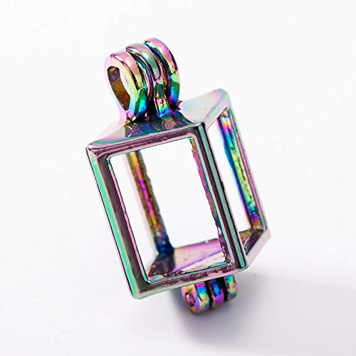 5X Rainbow Color Cuboid Pearl Cage Locket Pendant for DIY Essential Oil Diffuser
