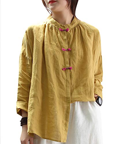 (Women Fashion Casual Blouse Tops Button Down Shirts - EG6 (M, EG6 Yellow))