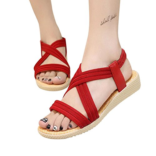Anboo Outdoor Sandals Shoes Bohemia Leisure Red Elastic Bandage toe Women Flat Peep rwOrCqR