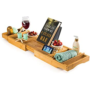 Bamboo Bathtub Caddy Tray With Book And Wine Holder For Spa Relaxing Bath,  Natural Wood Bathtub Tray With Extendable Arms   Great Idea