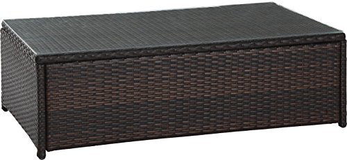 Crosley Furniture CO7201-BR Palm Harbor Outdoor Wicker Table with Glass Top, Brown