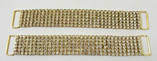 - 6 1/2'' Gold Tone Crystal Sparkle Prong Set Rhinestones Embellishments - 2 pcs #EK-147