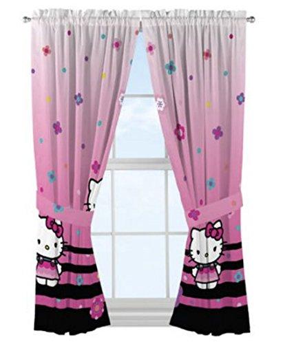 "Hello Kitty Curtains, 1 Pair Window Panel and 2 Tie-Backs, Microfiber, 82"" x 63"""