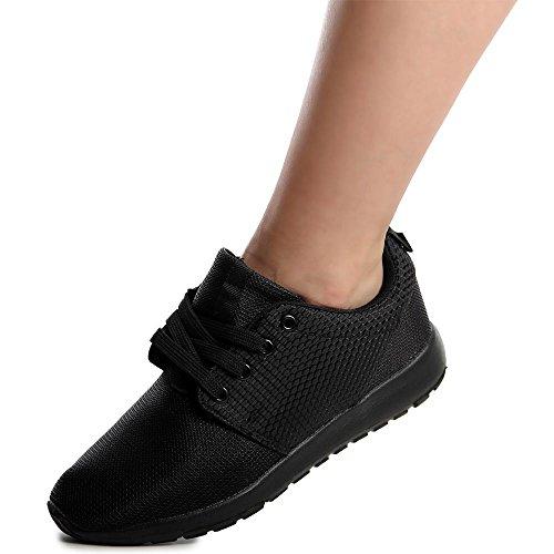 topschuhe24 546Femme Sneaker Chaussures de sport Noir NoKPX2
