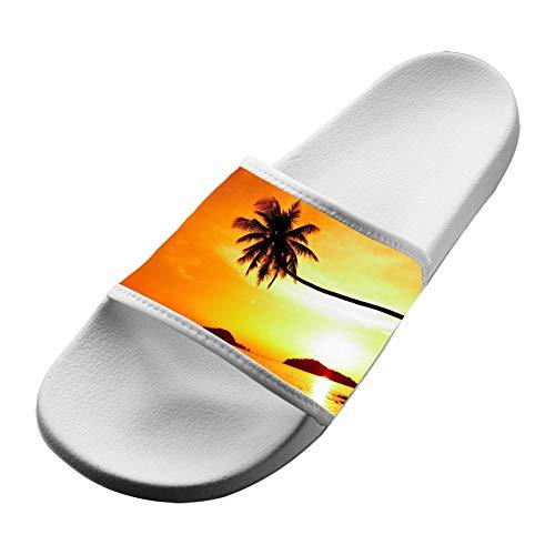 ZOE2SE Tropical Sunset Palm Tree Unisex Slippers Original Indoor Soft House Shower Flat Sandals Summer Hawaii Open Toe Shoes EVA Babouche Women 7 (M) US White