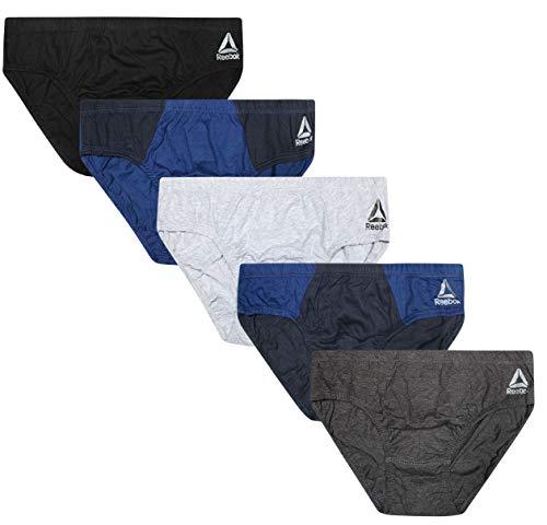 Reebok Men's Low Rise Underwear Briefs (5 Pack), Charcoal/Navy/Grey/Navy/Black, Large
