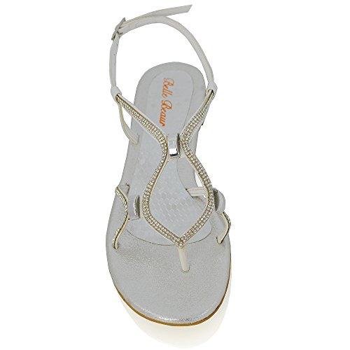 Sandali Slingback Flat Da Donna Essex Glam Diamante Sandali Open Toe Con Taglio Sintetico Bianco