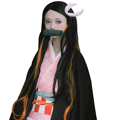 Demon Slayer Kimetsu no Yaiba Kamado Nezuko Cosplay Wig Cosplay Costume Hair Black -
