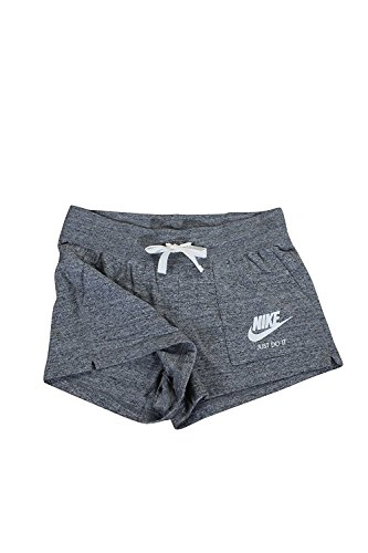 Nike Womens Gym Vintage Shorts Carbon Heather/Sail 883733-091 Size Large