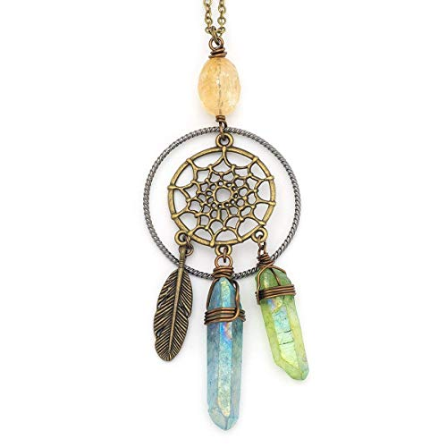 Dream Catcher Citrine Crystal Aura Quartz Point Bronze Pendant Necklace 22 Inches