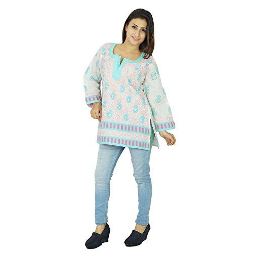 Chikan bordado Kurta diseñador indio Mujeres Kurti del regalo del algodón vestido de la túnica para ella Blanquecino