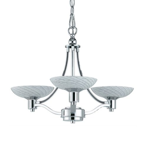 Triarch Crystal Pendant - Triarch International Lighting 39473 Halogen VII Collection 3-Light Chandelier, Polished Chrome Finish with White Hand-Blown Art Glass Shades