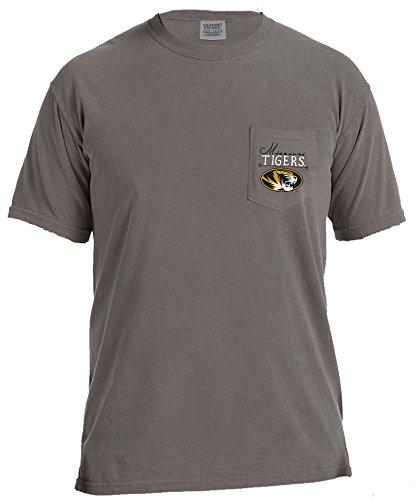 NCAA Missouri Tigers Adventures Short Sleeve Comfort Color Pocket Tee, Grey,Grey