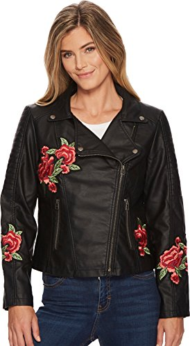 Tribal Women's Biker Jacket With Floral Patches Black Large (Jacket Matte Straight)