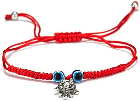 5-6 Pcs Evil Eye String Kabbalah Bracelets Hamsa Hand Hand-Woven Adjustable Red Rope Cord Thread Braided Bracelet Fatima Hand Ancient Friendship Charm Anklet for Protection and Luck Women Girl Jewelry