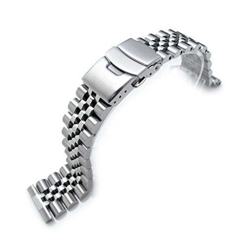 22mm Super Jubilee 316L Stainless Steel Watch Band, Solid Straight End, Diver - Watch Steel Mens Solid