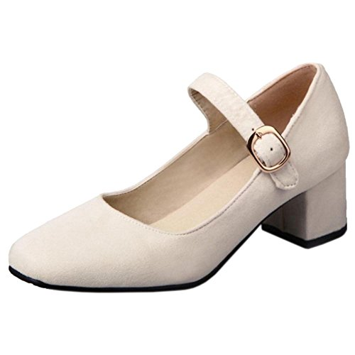 COOLCEPT Women Fashion Mary Jane Shoes Beige VUKg2j8a