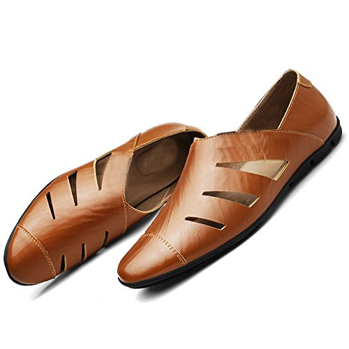 Feet Faule Braun Freizeit Herrenschuhe XIAOQI Schuhe Leder Große Größe British Schuhe Hohle qAFtxgp7w