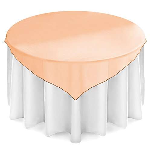 Orange Elegance Square Tablecloth (Lann's Linens - Organza Overlay Table Topper - 72