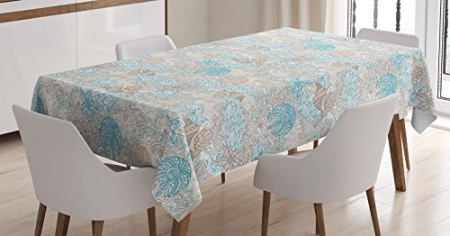 (Ambesonne Nautical Tablecloth, Pastel Toned Sea Shell Starfish Mollusk Seahorse Coral Reef Motif Design, Dining Room Kitchen Rectangular Table Cover, 60 W X 84 L Inches, Tan Turquoise)