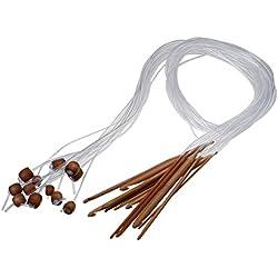 "12 Sizes 1.2M 48"" Afghan Tunisian Carbonized Bamboo Needle Crochet Hooks Set,Carpet Crochet with Beads by Jiabetterniu"