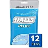 Halls Mountain Menthol Sugar Free Cough Drops - with Menthol - 300 Drops (12 bags of 25 drops)