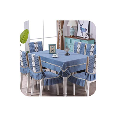 High Grade European Solid Color Table Cloth 1PCS Tablecloth 6PCS Chair Cover Modern Minimalist Non Slip Dining Table Chair Set,07,150X200CM 6PCS Chair