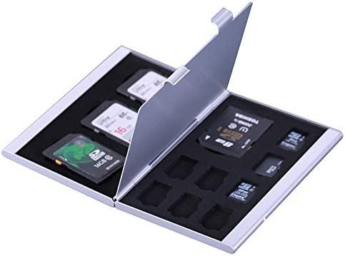 Caja de almacenamiento de aluminio de la tarjeta de memoria Caso de Protecter. 4x para tarjeta SD 8 x tarjeta micro SIM (Plata)