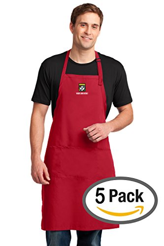 Custom Embroidered Port Authority Easy Care Extra Long Bib Aprons – Pack Of 5